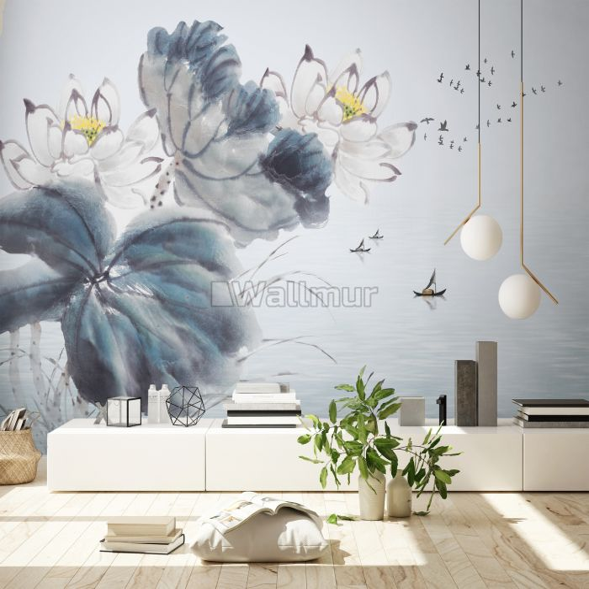 Lotus Floral Art Wallpaper Mural