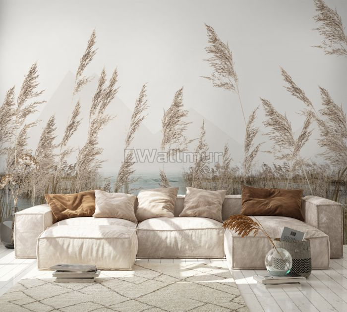 Meadow with Lake Landscape Wallpaper Mural