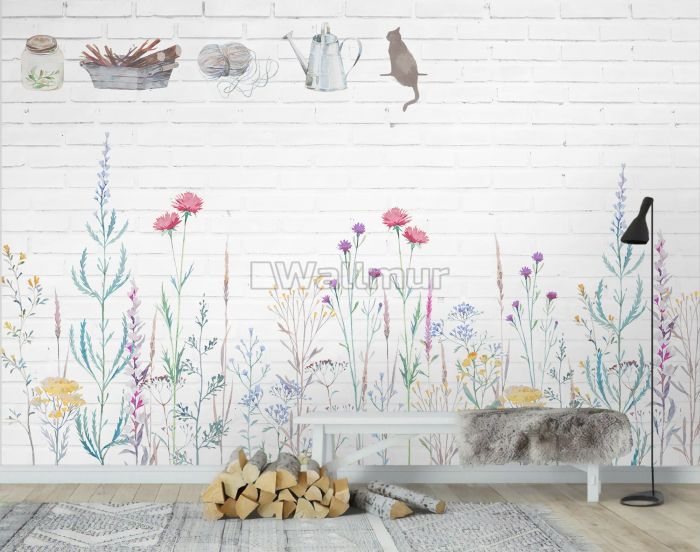 Watercolor Colorful Floral with White Brick Wall Wallpaper Mural