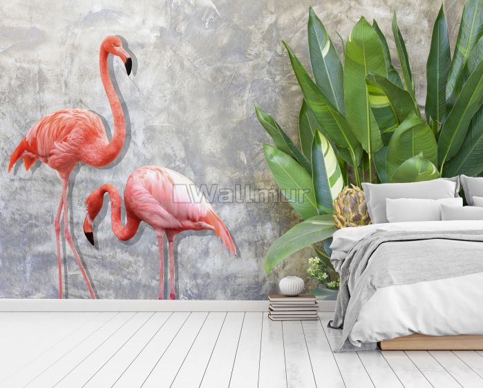 3D Look Pink Flamingo with Tropical Leaves Wallpaper Mural