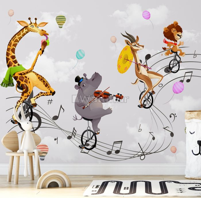 Cartoon Animal with Music Note Wallpaper Mural
