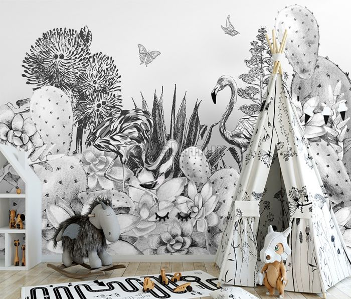 Monochrome Cactus Floral with Flamingo Drawing Wallpaper Mural