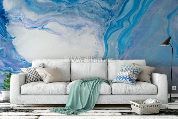 Abstract Turquoise Wave Pattern Wallpaper Mural