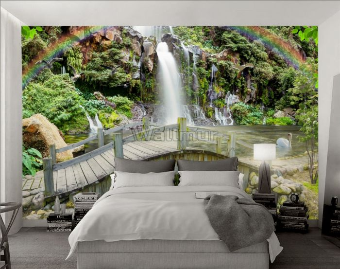 3D Look Waterfall and Rainbow Landscape Wallpaper Mural