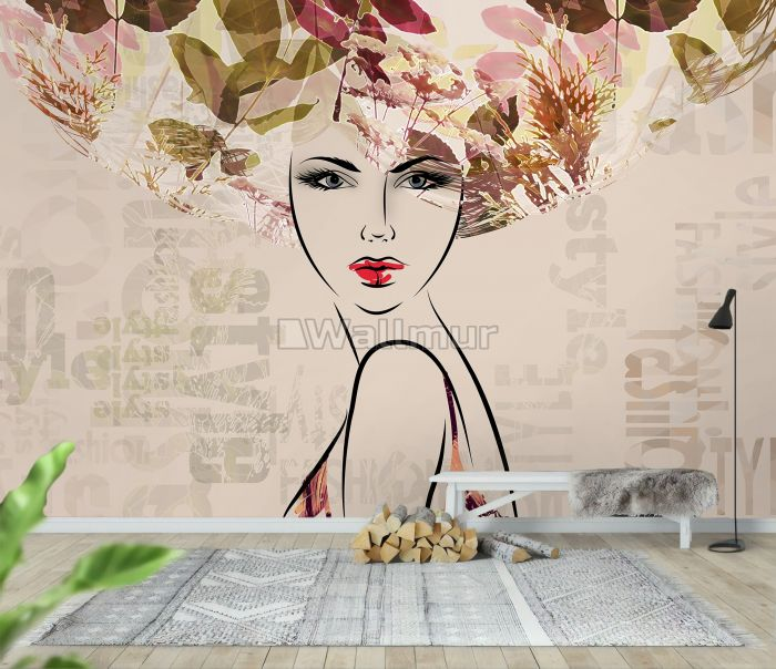 Woman Face Art with Winter Leaf Wallpaper Mural