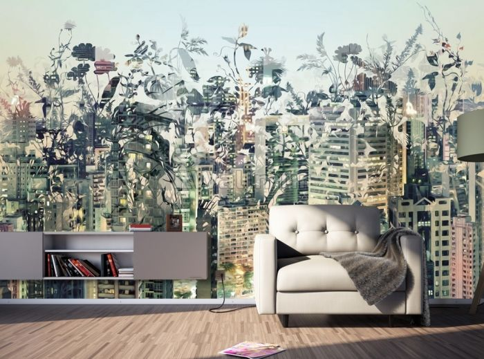 Abstract City Landscape Wallpaper Mural