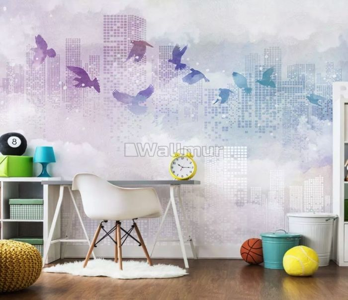 Abstract City with Purple Birds Wallpaper Mural