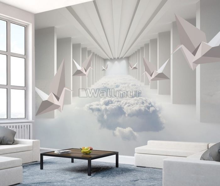 Abstract Corridor with Paper Plane Wallpaper Mural