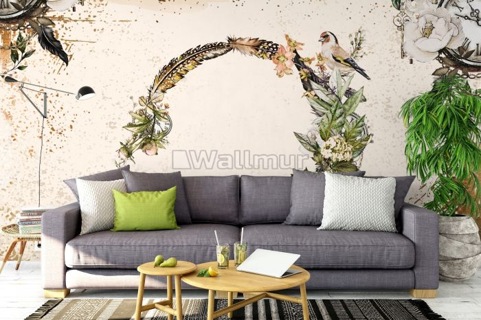 Human Head with Floral and Feather Pattern Wallpaper Mural