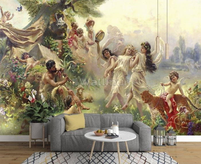 Oil Painting Abstract Angel Wallpaper Mural