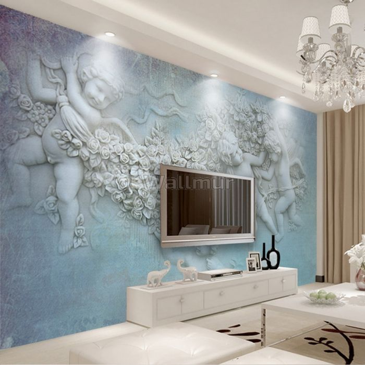 3D Look Angel Sculpture with Florals Wallpaper Mural