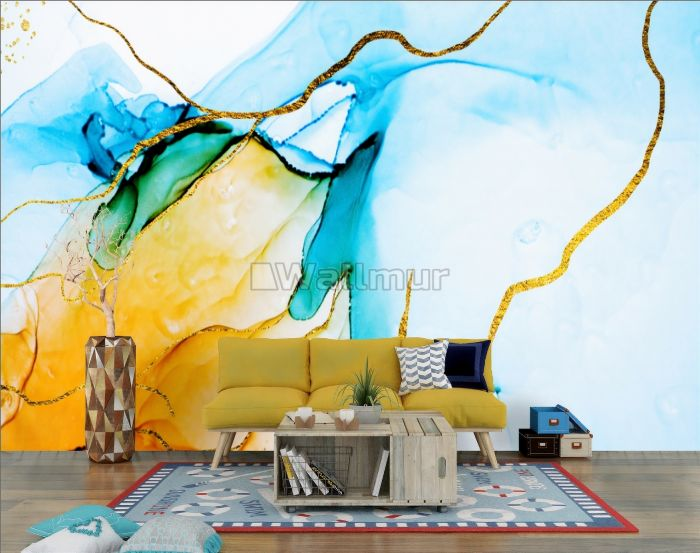 Blue Yellow Watercolor Brush with Modern Lines Wallpaper Mural
