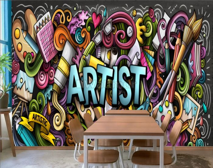 Drawing Graffiti Artist with Colorful Painting Wallpaper Mural