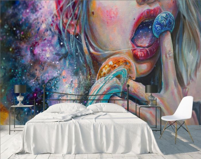 Oil Painting Style Abstract Easel Woman Art Wallpaper Mural
