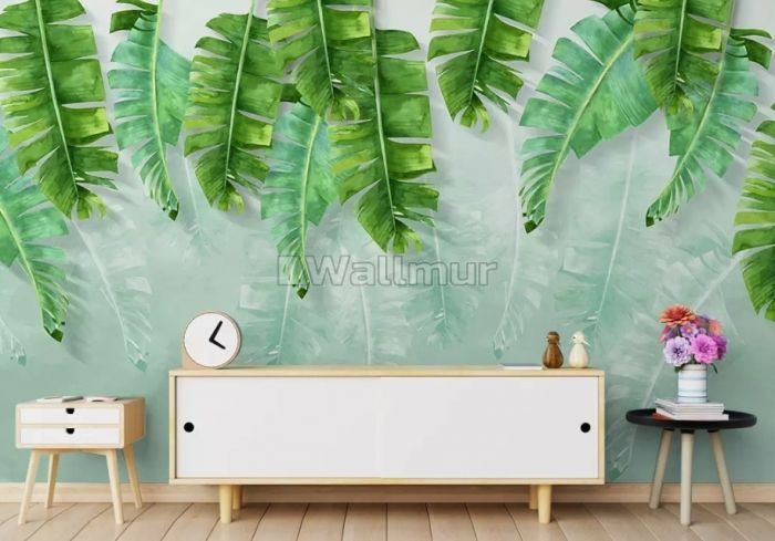 Tropical Leaves and Shading Leaf Wallpaper Mural