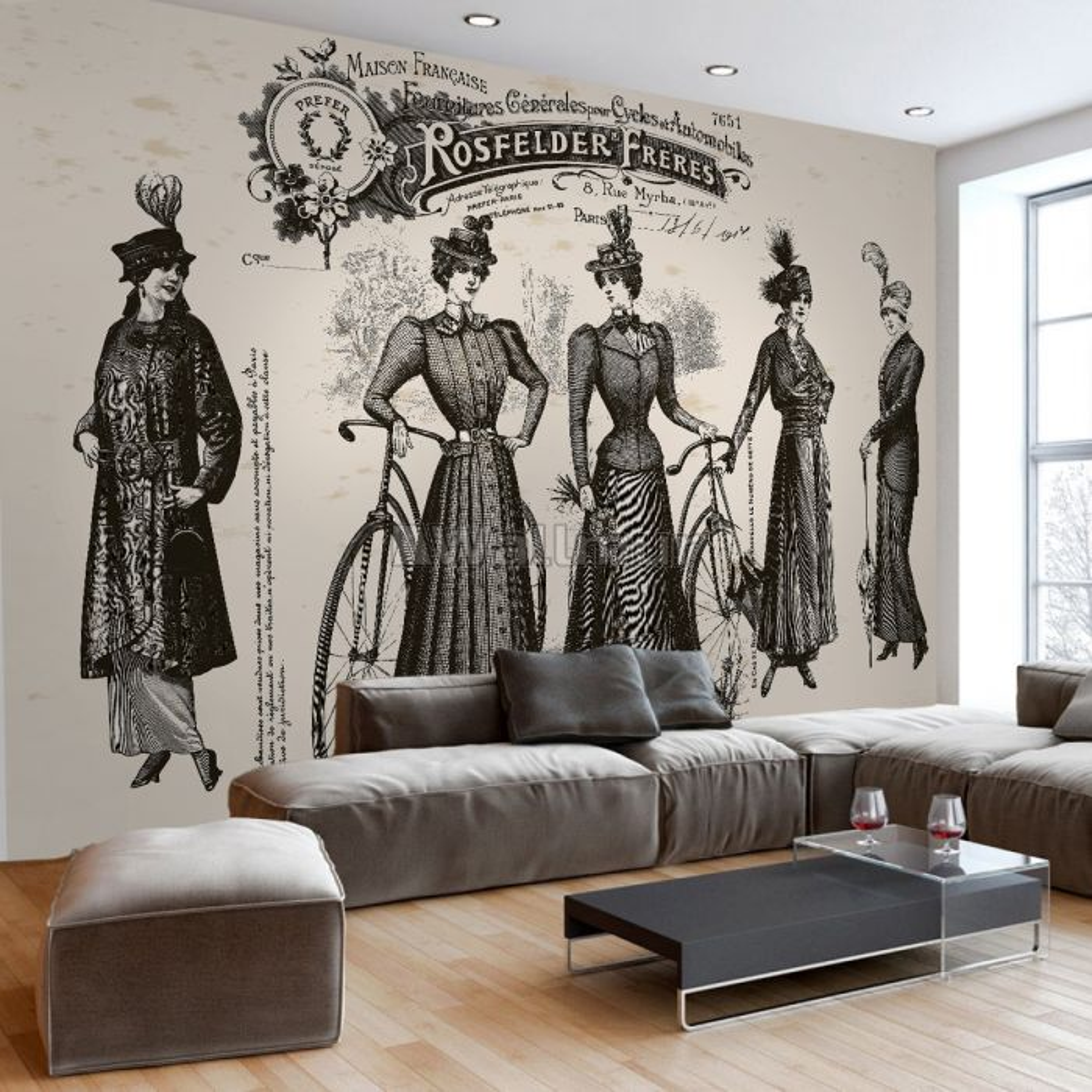Retro French Clothing Art Wallpaper Mural