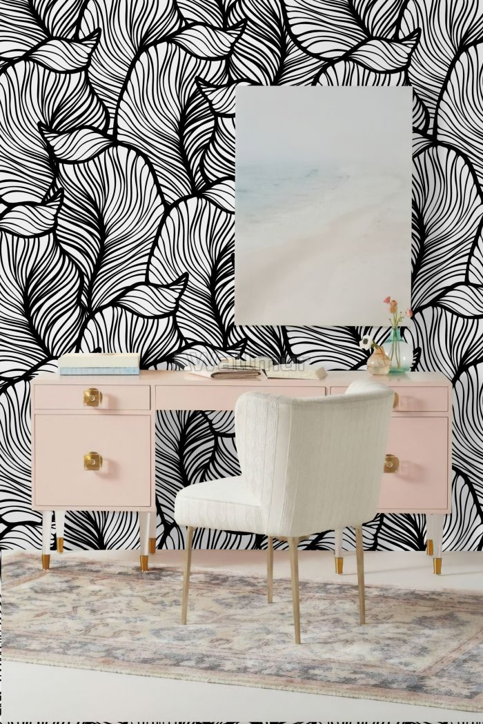 Charcoal Black and White Leaf Pattern Wallpaper Mural