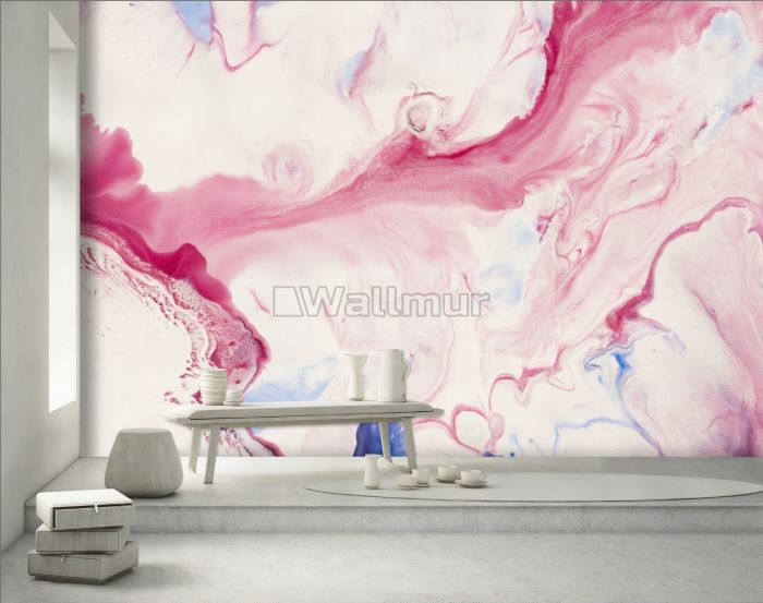 Pink Blue Marble Style Brush Wallpaper Mural