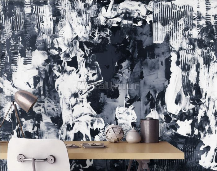 Watercolor Style Blue and White Brush Wallpaper Mural