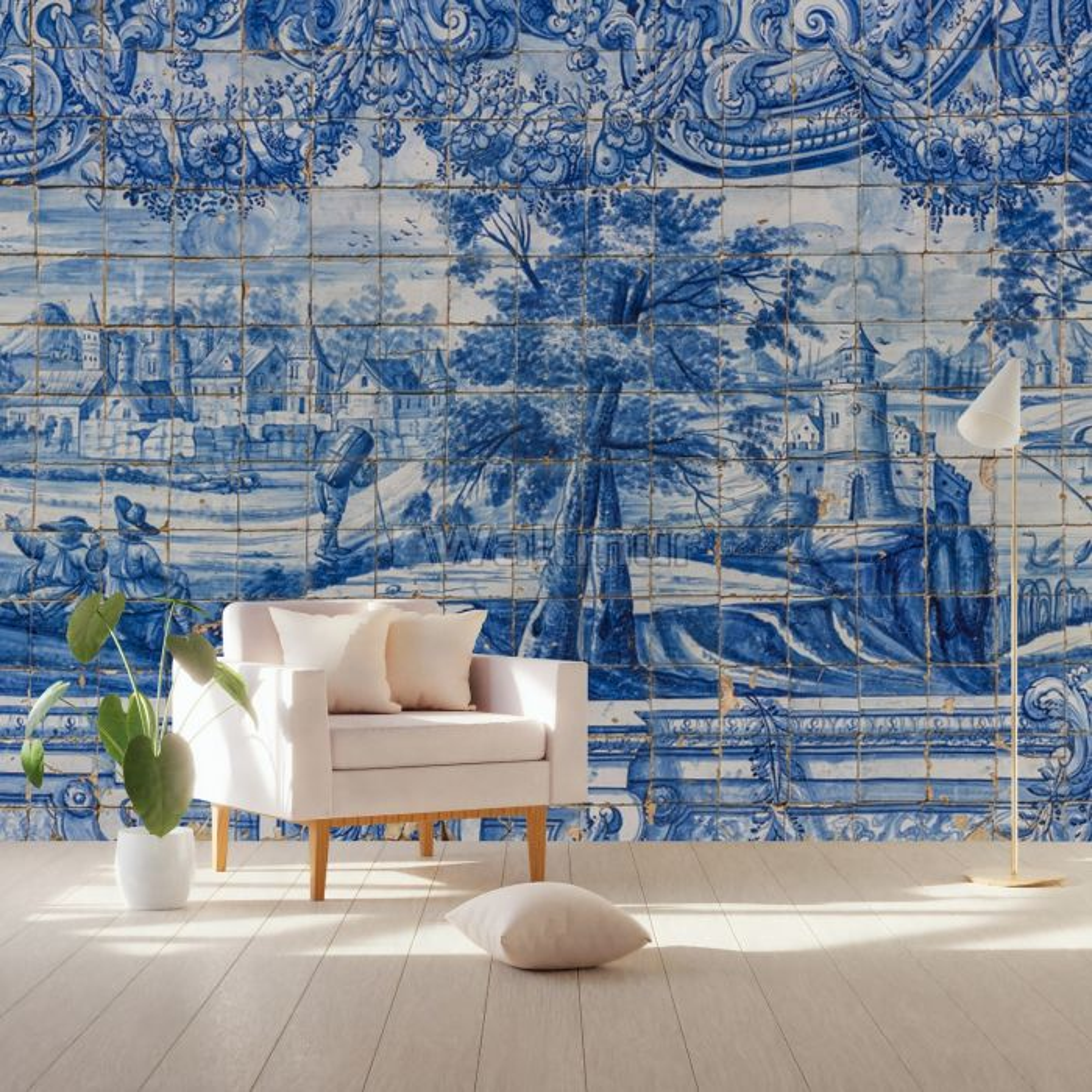 Blue Chinoiserie with Brush Tile Pattern Wallpaper Mural