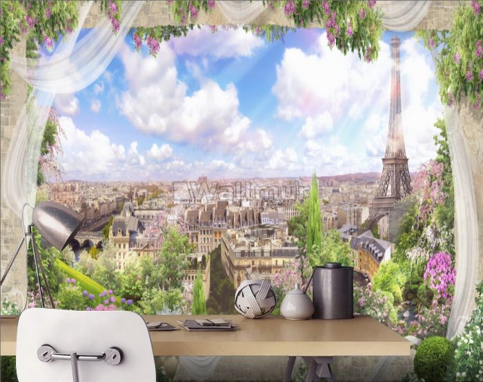 Eiffel Tower City Landscape with Hanging Florals Wallpaper Mural