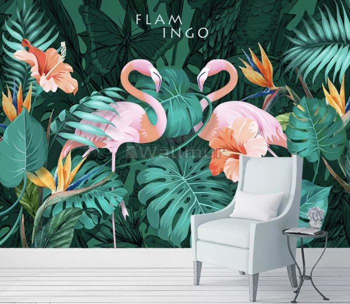 Coral and Pink Flamingo with Tropical Leafy Wallpaper Mural