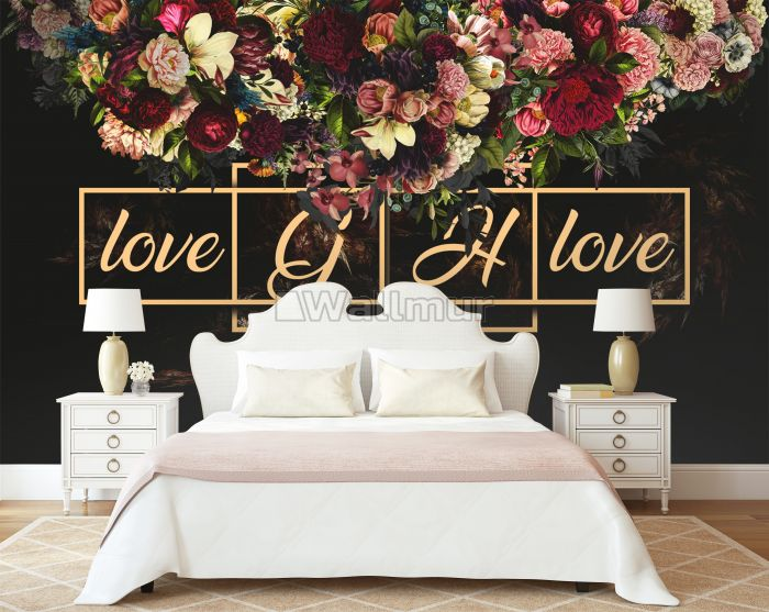 Dark Dutch Floral with Your Write Text Wallpaper Mural