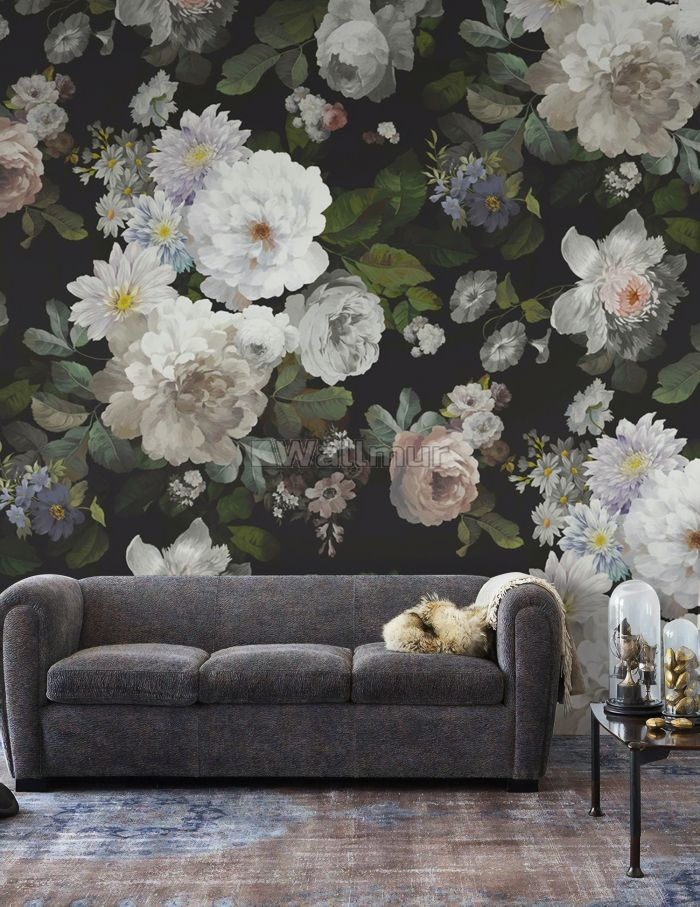 Dark Floral and White Peony Blossoms Wallpaper Mural