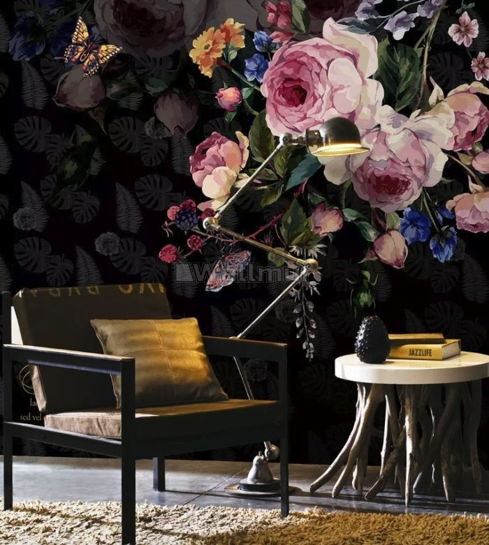 Dark Pink Flowers and Yellow Butterfly Wallpaper Mural