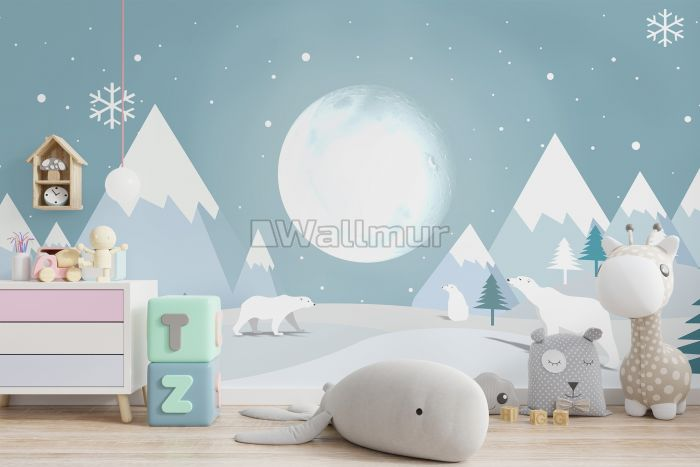 Kids Mountainscape with Bears and Blue Skyscape Wallpaper Mural