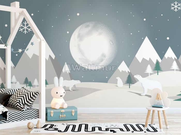 Kids Mountainscape with Cute Bear and Gray Skyscape Wallpaper Mural