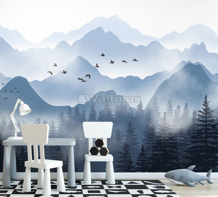 Monochrome Mountainscape with Misty Forest Wallpaper Mural