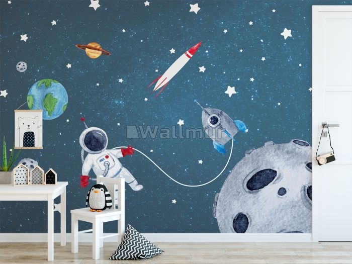 Watercolor Space with Astronaut and Meteor Wallpaper Mural