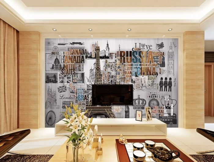 Eiffel Tower and Country Typography Wallpaper Mural