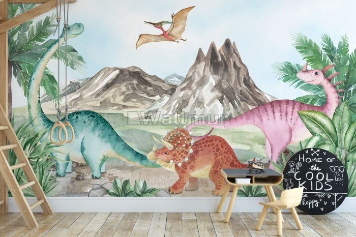 Cute Colorful World of the Dinosaurs Wallpaper Mural