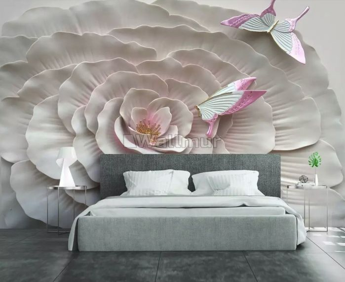 3D Embossed Look Flowers and Butterfly Wallpaper Mural
