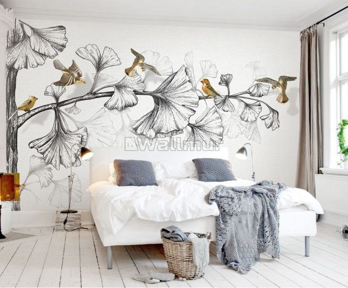 Black and White Charcoal Lotus Floral and Colorful Birds Wallpaper Mural