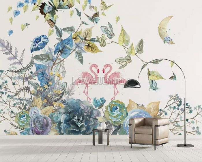 Flamingo and Soft Floral Wallpaper Mural