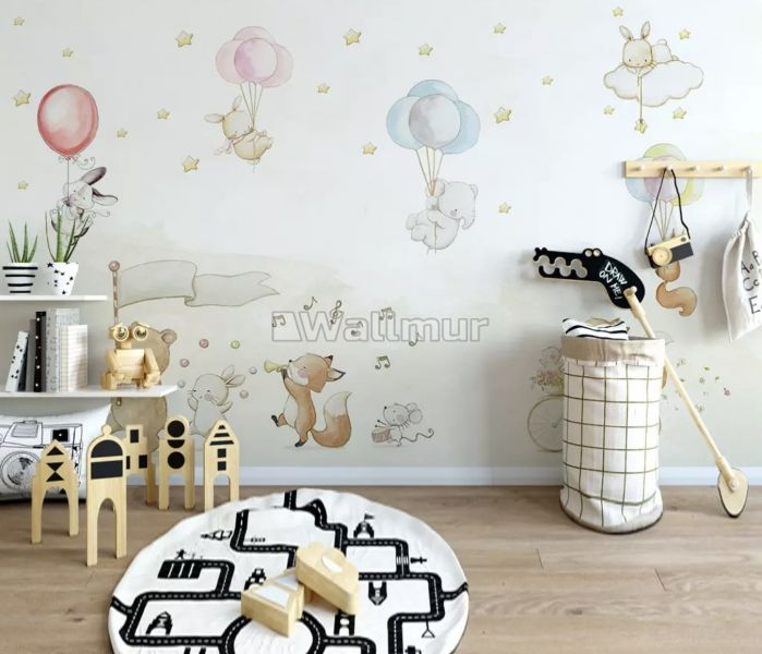 Flying Elephant ve Rabbits with Air Balloon Wallpaper Mural