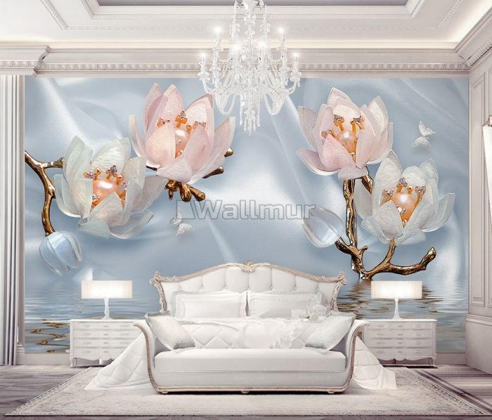 Pearl Lotus Flower and Little Butterfly Wallpaper Mural