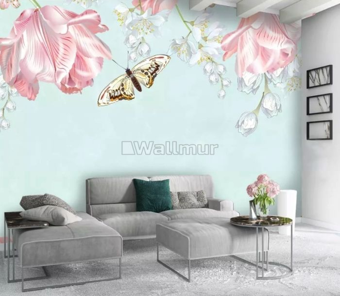 Pink Floral and Yellow Butterfly Wallpaper Mural