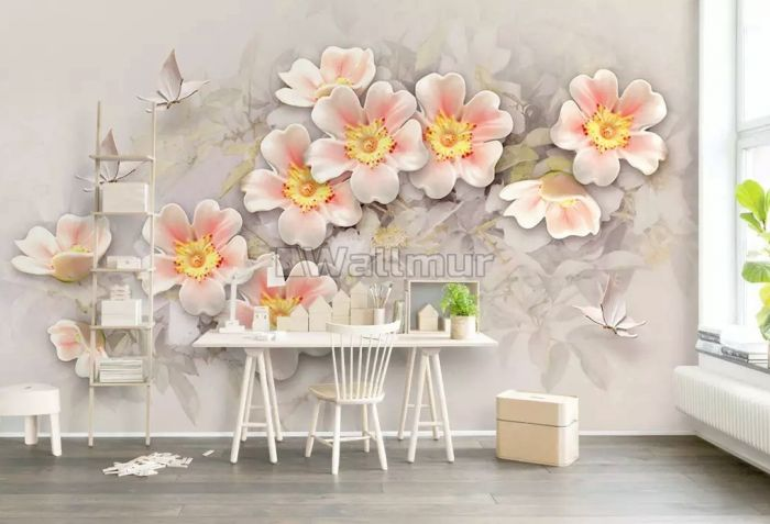 Pink Flower and White Butterfly Wallpaper Mural