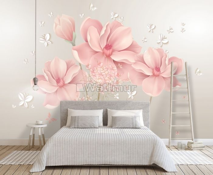 Pink Hdrangea Floral with Little Butterfly Wallpaper Mural