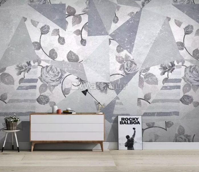Rose Floral with Geometric Pattern Wallpaper Mural