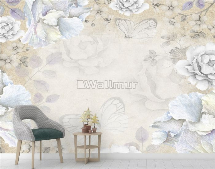 Vintage Watercolor Peony Floral with Butterfly Wallpaper Mural