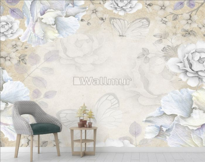 Vintage Watercolor Peony Floral with Butterfly