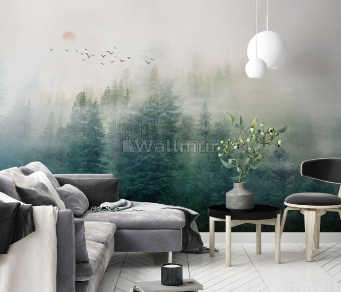 Misty Forest and Sunrise Wallpaper Mural