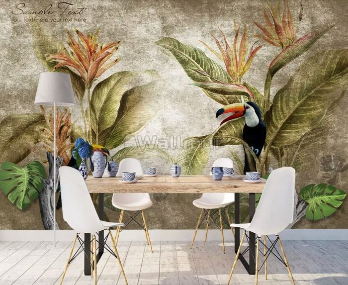 Nostalgic Toucan in the Tropical Forest Wallpaper Mural