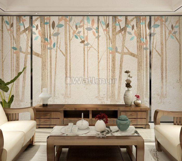 Vintage Brown Forest with Colorful Leaf Wallpaper Mural