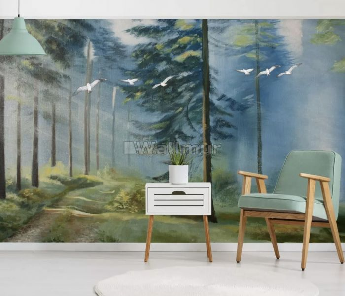 Watercolor Painting Misty Forestscape Wallpaper Mural